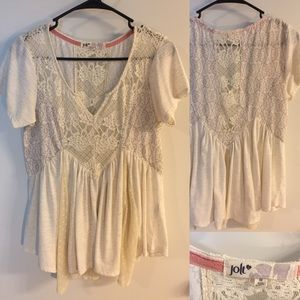 Lace and sheer top with short sleeves